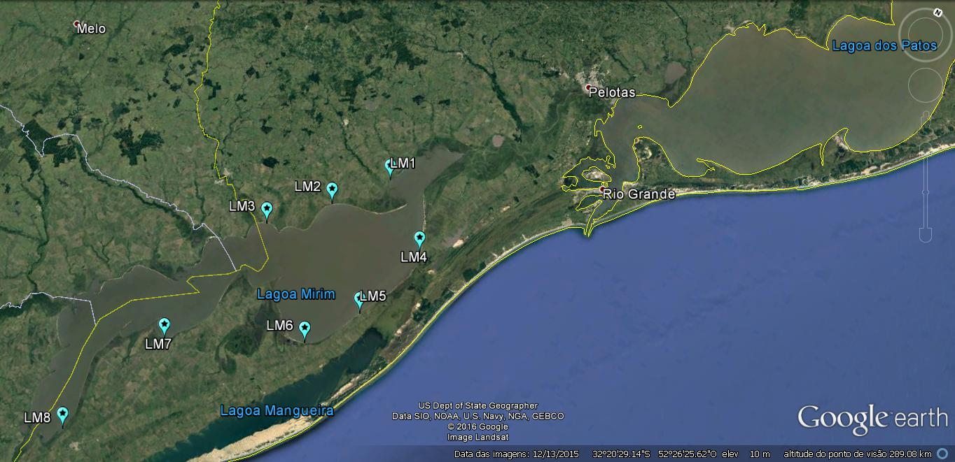 Mapa dos pontos de monitoramento da qualidade de água da Lagoa Mirim