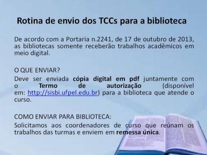 Rotina para envio dos TCCs para a biblioteca