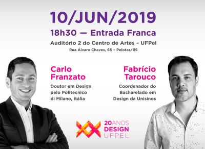 10/jun/2019 – 18h30 – Entrada Franca – Palestra Carlo Franzato e Fabrício Tarouco