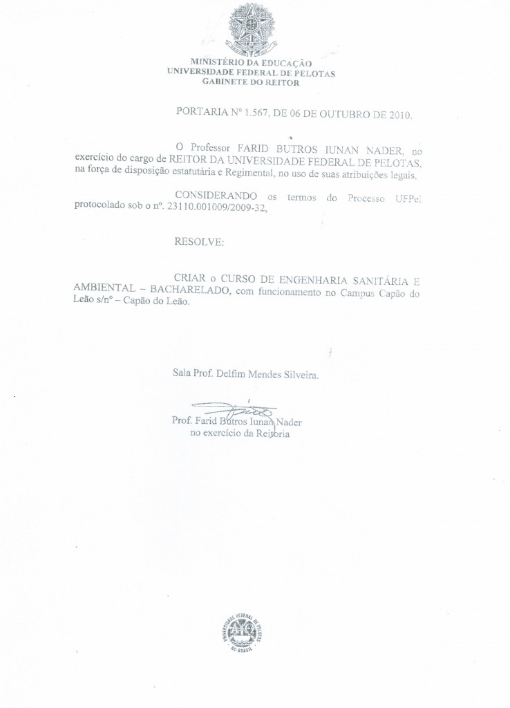 Portaria 1.567-2010 - Criação do Curso de Engenharia Sanitária e Ambiental - UFPel