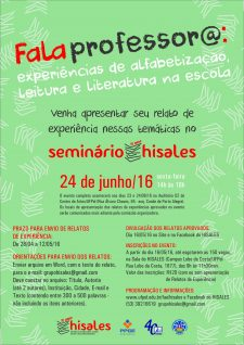 cartaz Fala professora Seminario 10 anos HISALES