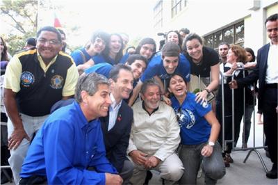 Encontro dos alunos do Curso de Relações Internacionais com o Presidente Luis Inácio Lula da Silva na visita feita à Universidade Federal de Pelotas para inauguração das novas instalações do Campus Porto.