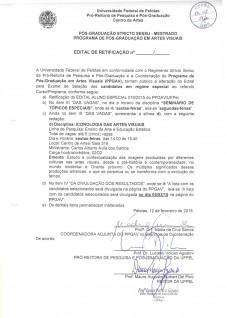 EDITAL DE RETIFICAÇÃO - 2015-1- aluno especial