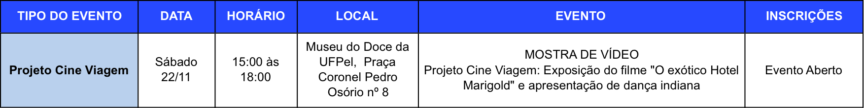 cine viagem