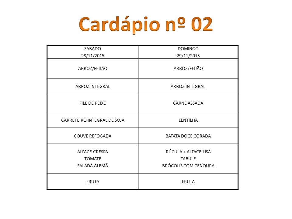 Cardápio Novembro II